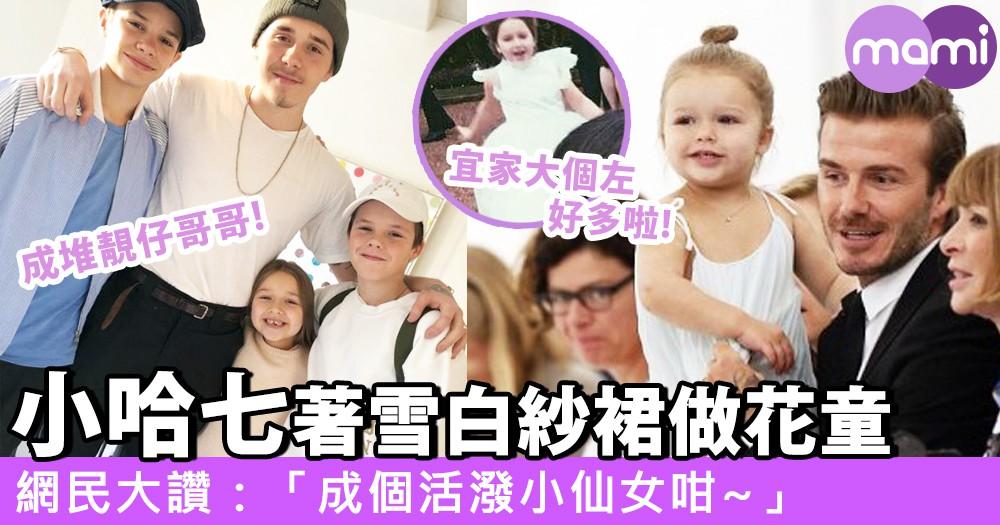 小哈七當花童!婚禮穿白色小紗裙~網民大讚:「像活潑的小仙女!」