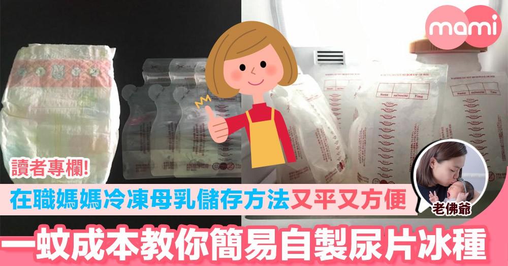 【在職媽媽冷凍母乳儲存方法 又平又方便  一蚊成本教你簡易自製尿片冰種】